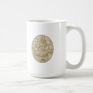 Medieval Monk Brewing Beer Oval Drawing Coffee Mug