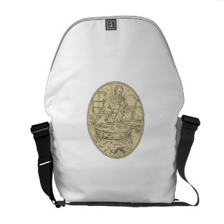 Medieval Monk Brewing Beer Oval Drawing Courier Bag