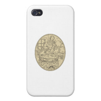 Medieval Monk Brewing Beer Oval Drawing iPhone 4 Cases