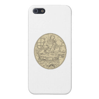 Medieval Monk Brewing Beer Oval Drawing iPhone SE/5/5s Case