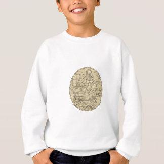 Medieval Monk Brewing Beer Oval Drawing Sweatshirt