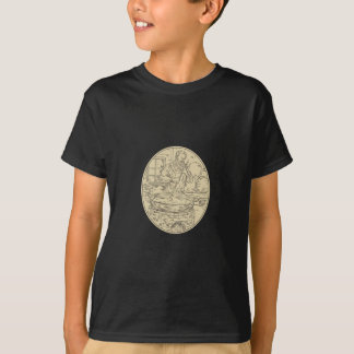 Medieval Monk Brewing Beer Oval Drawing T-Shirt