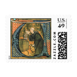 Medieval Monk Postage Stamps