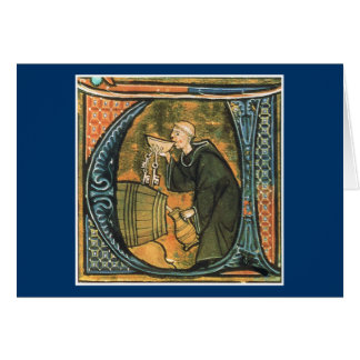 Medieval Monk Tasting Wine Greeting Card