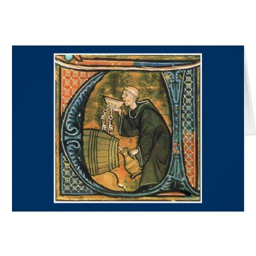 Medieval Monk Tasting Wine Greeting Card