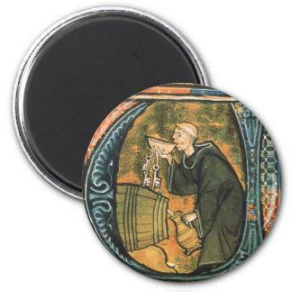 Medieval Monk Tasting Wine Magnet