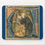 Medieval Monk Tasting Wine Mousepad