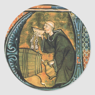 Medieval Monk Tasting Wine Stickers