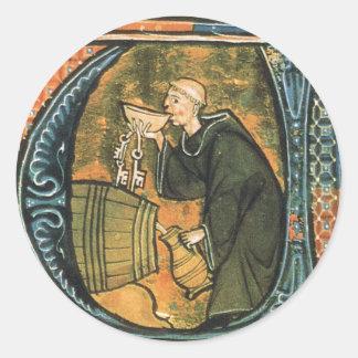 Medieval Monk Tasting Wine Stickers
