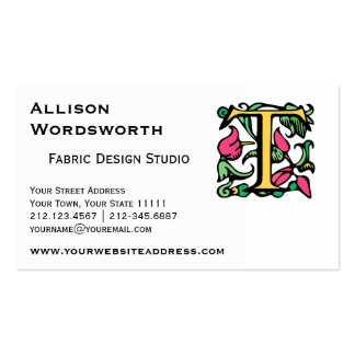 Medieval Monogram Initial T Business Card