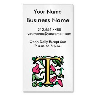 Medieval Monogram Letter T Magnetic Business Card