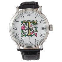 Medieval Monogram Letter T Watch