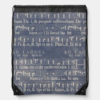 Medieval Music Manuscript Dark Blue and White Drawstring Bag
