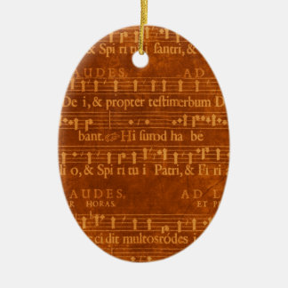 Medieval Music Manuscript Red Ornamental Pendant Ceramic Ornament