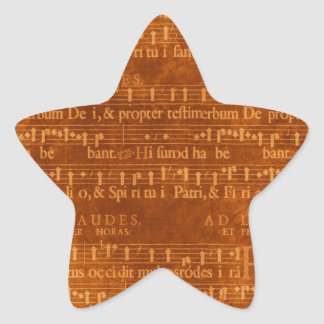 Medieval Music Manuscript Star Shape Star Sticker
