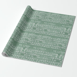 Medieval Music Manuscript Teal Green Wrapping Paper