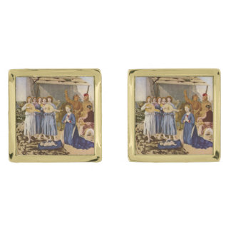 Medieval Musicians Play Music for Jesus Gold Finish Cufflinks