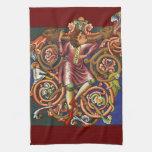 Medieval Nobelman Colorful Illuminated Manuscript Hand Towels