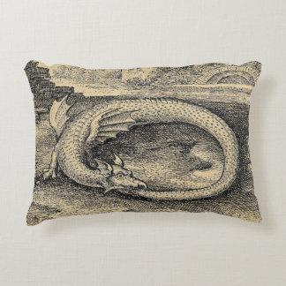 Medieval Ouroboros Dragon Accent Pillow
