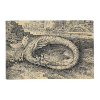 Medieval Ouroboros Dragon Laminated Placemat