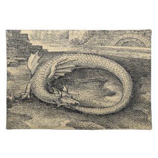 Medieval Ouroboros Dragon Cloth Place Mat