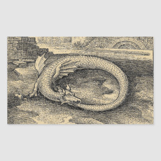 Medieval Ouroboros Dragon Rectangular Sticker