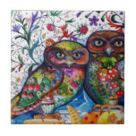 Medieval owls 1 small square tile