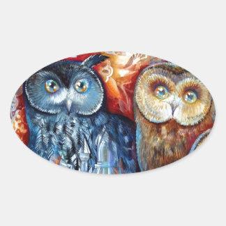 Medieval owls oval sticker