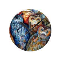 Medieval owls round clock