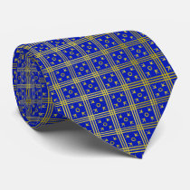 Medieval Pattern Blue-and-Gold Tie
