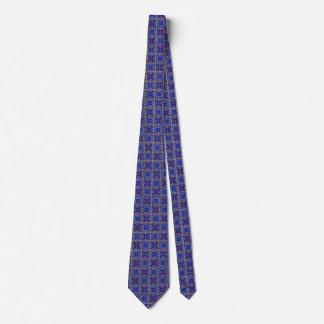 Medieval Patterned Blue Quatrefoil Necktie