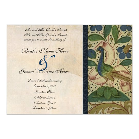Medieval Pheasant Parchment Wedding Invitation