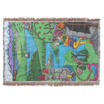 Medieval Piper Fantasy Throw Blanket