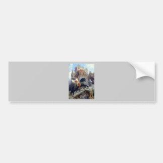 Medieval Prince black horse gnomes castle Car Bumper Sticker