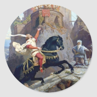 Medieval Prince black horse gnomes castle Classic Round Sticker