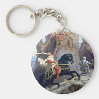 Medieval Prince black horse gnomes castle Basic Round Button Keychain