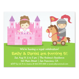 Medieval Princess and Knight Twins Birthday Party 4.25x5.5 Paper Invitation Card