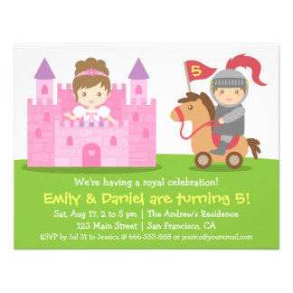 Medieval Princess and Knight Twins Birthday Party Custom Invitation