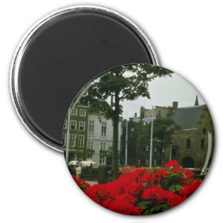 Medieval Prison In The Hague flowers 2 Inch Round Magnet
