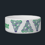 """Medieval Purple Green Celtic Trinity Knot Bowl<br><div class=""""desc"""">Simply elegant Celtic triskele trinity knot design in purple and green - ancient and medieval Celtic symbol of eternity,  adapted by Christians to symbolize the Trinity and God&#39;s everlasting love. Personalized in Irish green medieval script.</div>"""