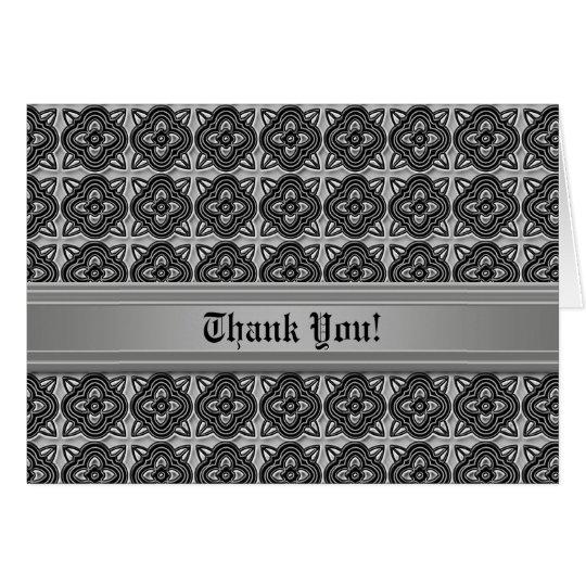 Medieval Quatrefoils Black on Silver Card