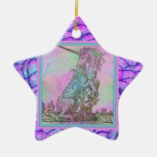 Medieval Rainbow Unicorn Ceramic Ornament
