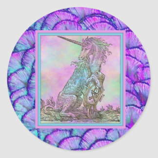 Medieval Rainbow Unicorn Classic Round Sticker