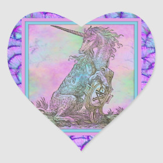Medieval Rainbow Unicorn Heart Sticker