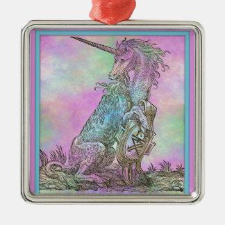 Medieval Rainbow Unicorn Metal Ornament