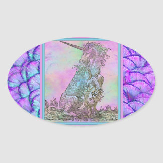 Medieval Rainbow Unicorn Oval Sticker