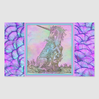 Medieval Rainbow Unicorn Rectangular Sticker