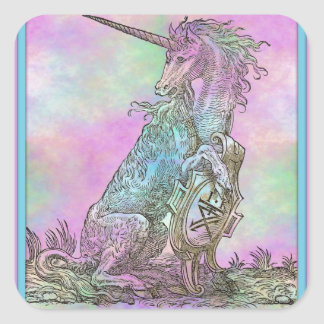 Medieval Rainbow Unicorn Square Sticker