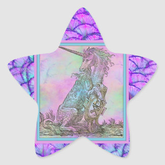 Medieval Rainbow Unicorn Star Sticker