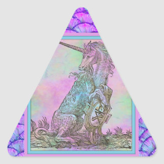 Medieval Rainbow Unicorn Triangle Sticker